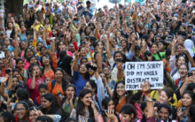 St Francis College students protest against dress code