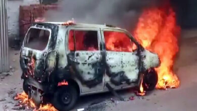 Photo of UP: Moving car catches fire, driver safe