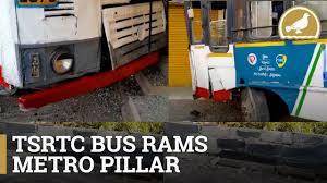 TSRTC bus rams into Metro pillar at Ameerpet, 4 hurt