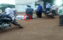 Two farmers seen touching feet of Revenue officer