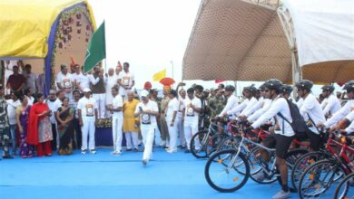 Photo of Kishan Reddy flags off of Cycle Rally organized