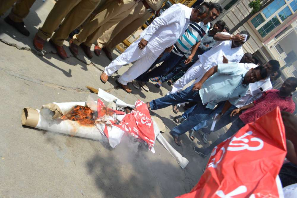 TS Christian JAC protests, burns effigy of nominated MLA Elvis