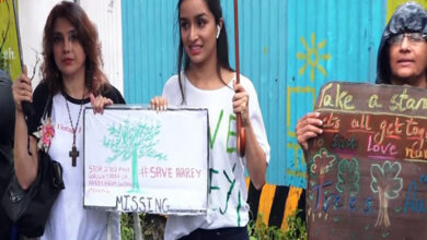 Photo of Shraddha joins protest against slashing trees of Aarey forest