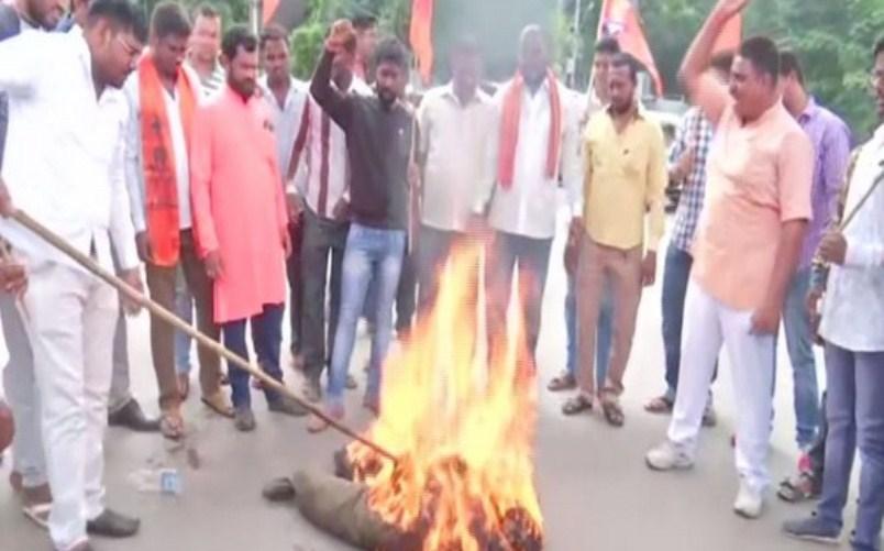 Bajrang Dal stage protest condemning Murshidabad triple murder