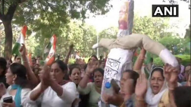 Photo of Women Congress workers protest against Haryana CM