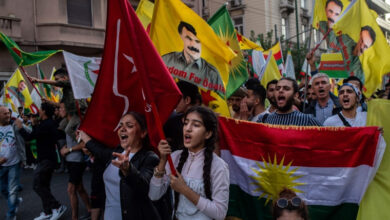 Photo of Thousands in Europe march against Turkey's Syria offensive