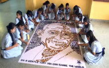 Ahmedabad: Using 150 words, these students made Gandhi's picture
