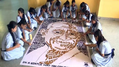 Photo of Ahmedabad: Using 150 words, these students made Gandhi's picture