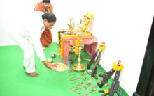 Telangana CM KCR performs vehicle and Weapon Pujas