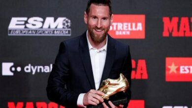 Photo of Lionel Messi receives his sixth Golden Shoe