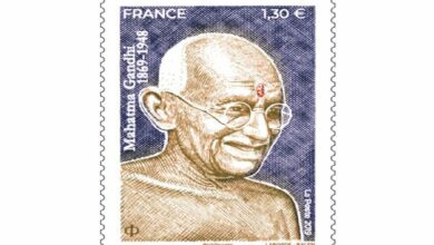 Photo of Mahatma Gandhi figures on postage stamp issued in France