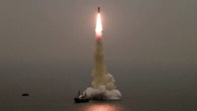 Photo of N. Korea test-fires new missile from submarine