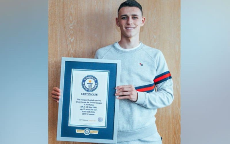 Manchester City's Phil Foden enters Guinness World Records