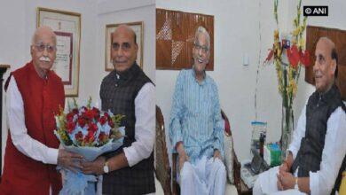 Photo of Rajnath Singh meets veteran BJP leaders Advani, MM Joshi