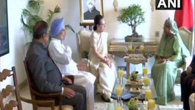Photo of Sheikh Hasina meets Sonia Gandhi, Priyanka, Manmohan Singh