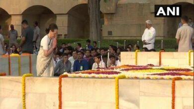 Photo of Sonia,Nadda pay tribute at Rajghat on Mahatma's 150th birth anniversary