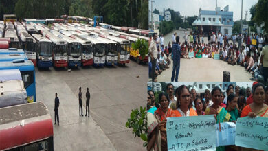 Photo of TSRTC workers stage protest rallies across State
