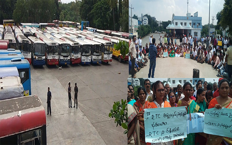 TSRTC workers stage protest rallies across State