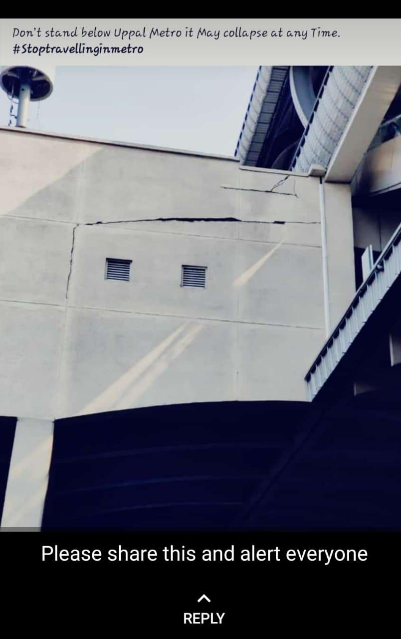 Images of surface cracks haunt Hyderabad Metro