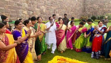 Photo of BJP leaders Celebrating Bathukamma
