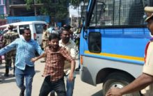 TSRTC employees protest outside Apollo DRDO Hospital