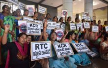 Silent protest of RTC employees in Telangana
