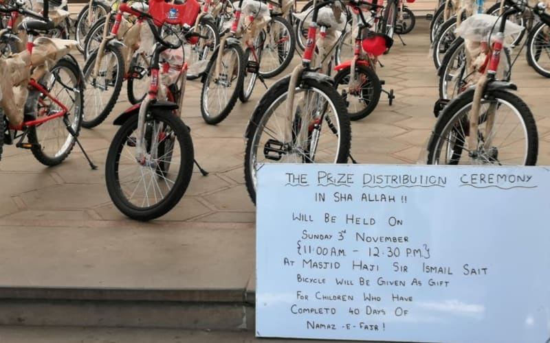 This masjid gifts free bicycles for kids for Fajr prayers