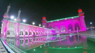 Photo of Mecca Masjid illuminated for Milad-un-Nabi festivities