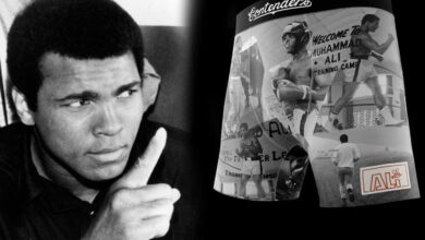 Photo of Boxer briefs with Muhammad Ali name printed, face backlash