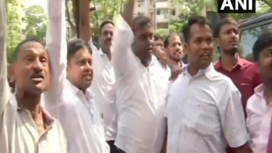 Photo of NCP workers raise slogans against Ajit Pawar at YB Chavan centre