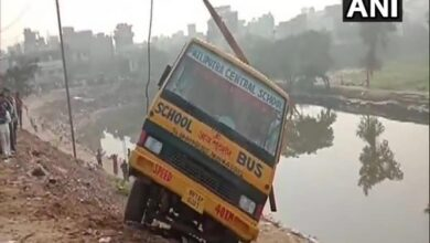 Photo of 5 school children rescued after bus rolls off the edge of road