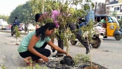 Photo of Hyderabad Locals stage protest by planting trees inside potholes