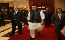 Rajnath Singh arrives in Moscow