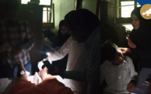 No Power, Doctor using a mobile flashlight to treat Patients