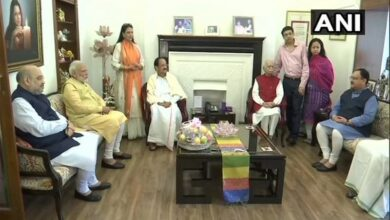 Photo of Modi, Amit Shah and VP Naidu met LK Advani on his 92nd birthday