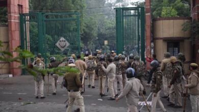 Photo of Police lathi charge at Delhi students protesting CAA