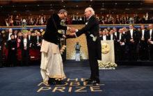 With 'desi' swag, Abhijit Banerjee receive Nobel Prize