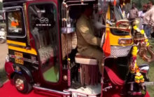 An auto-rickshaw with TV, phone, mobile charging point and more