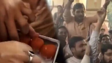 Photo of BHU students celebrate after Prof Khan resigns