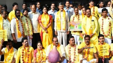 Photo of TDP chief Chandrababu Naidu protests against onion price hike