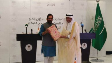 Photo of Haj agreement 2020 signed by Mukhtar Abbas Naqvi at Jeddah