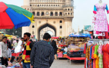 Hawkers return to Charminar; no place for tourists to move around
