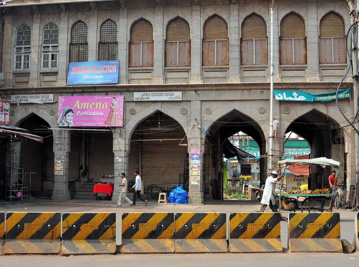 Shops are closed near Charminar on the occasion of 27th Babri Masjid demolition Anniversary on Friday.
