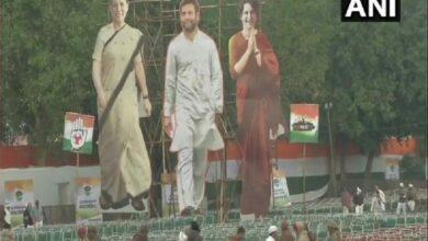 Photo of Preparations at Ramlila Maidan for Cong' 'Bharat Bachao' rally