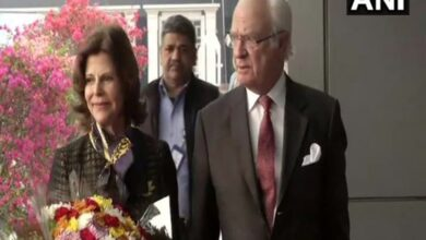 Photo of Sweden's King Gustaf and Queen Silvia arrive in Delhi on 5-day