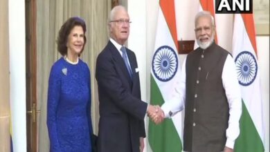 Photo of Swedish King Hubertus, Queen Silvia meet PM at Hyderabad House