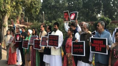 Photo of TMC MPs protest in Parliament over hike in onion prices
