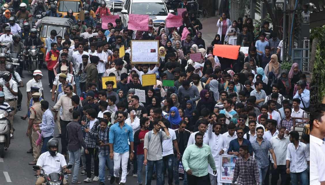 Vet's rape-murder:Rally taken out by students of Sultan ul uloom