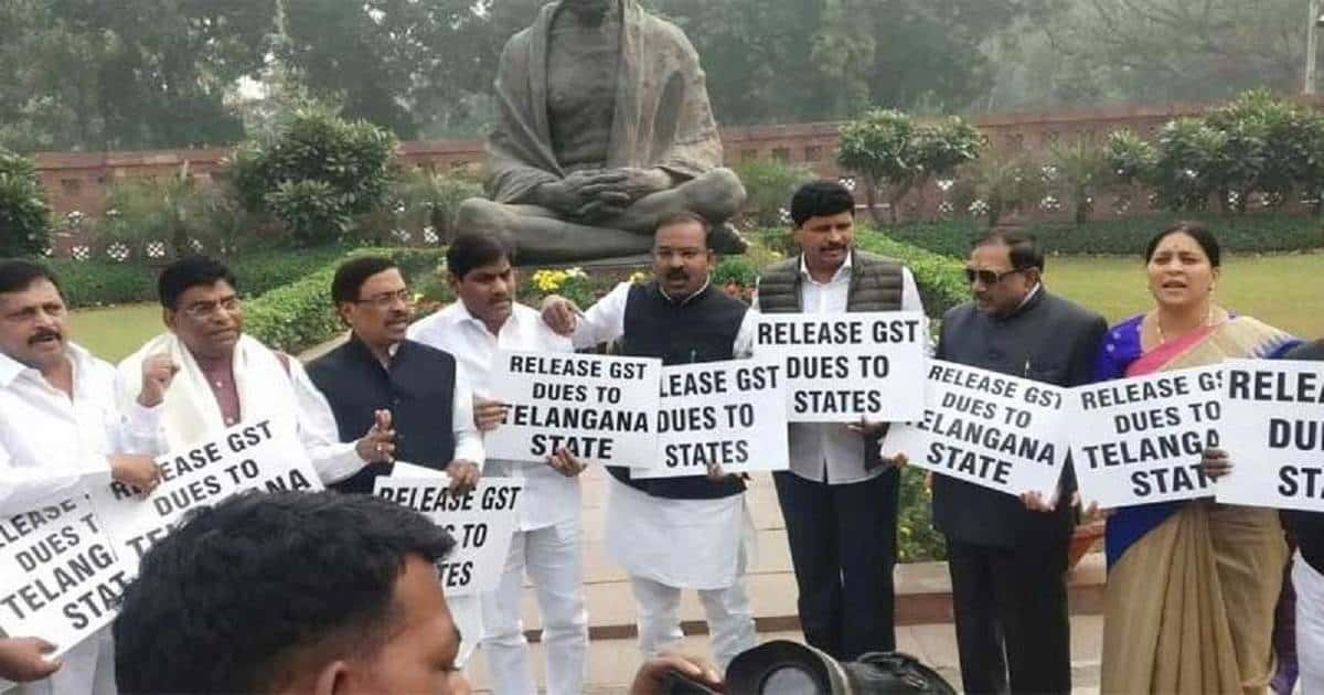 TRS MPs protest at parliament for funds
