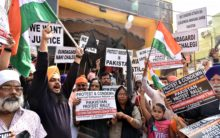 Protest against the attack on Nankana Sagab gurudwara